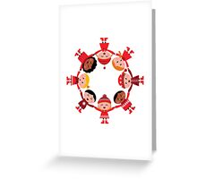 Happy smiling winter kids in circle Greeting Card