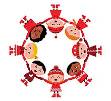 Happy smiling winter kids in circle Photographic Print