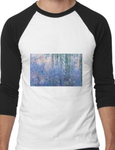 Claude Monet - The Water Lilies - Morning with Willows (1915 - 1926)  Men's Baseball ¾ T-Shirt