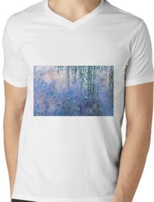 Claude Monet - The Water Lilies - Morning with Willows (1915 - 1926)  Mens V-Neck T-Shirt