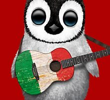 Baby Penguin Playing Italian Flag Guitar Red by Jeff Bartels