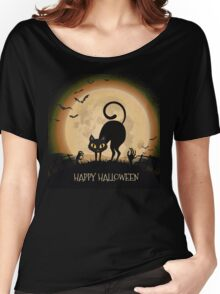 Happy Halloween Black Cat Women's Relaxed Fit T-Shirt