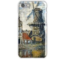 Claude Monet - The Windmill on the Onbekende Gracht, Amsterdam (1874)  iPhone Case/Skin