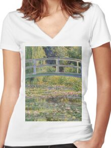 Claude Monet - The Japanese Bridge The Water Lily Pond 1899 Women's Fitted V-Neck T-Shirt