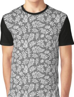 Floral pattern with leaves and branches on grey background Graphic T-Shirt