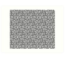 Floral pattern with leaves and branches on grey background Art Print