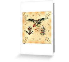 Tattoo eagle anchor ship Sailor Greeting Card