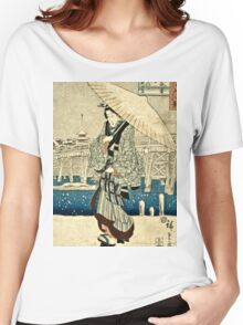 Ando Hiroshige - Eight Views Of Edo, Evening Snow At Asakusa, Date Unknown  Women's Relaxed Fit T-Shirt
