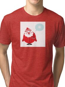 Cute vector cartoon Santa thinking Tri-blend T-Shirt