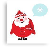 Cute vector cartoon Santa thinking Canvas Print