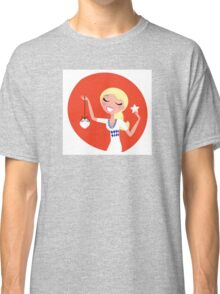 Retro blond cute Christmas Girl with decoration Classic T-Shirt