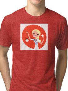 Retro blond cute Christmas Girl with decoration Tri-blend T-Shirt