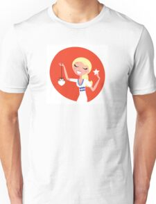 Retro blond cute Christmas Girl with decoration Unisex T-Shirt