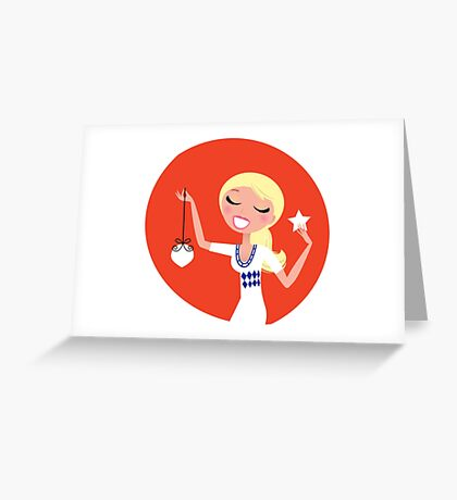Retro blond cute Christmas Girl with decoration Greeting Card