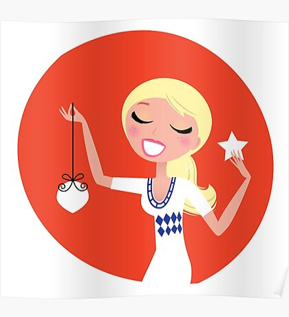 Retro blond cute Christmas Girl with decoration Poster