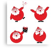 Vector illustration of cute cartoon Santa Claus set in various poses Canvas Print