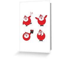 Vector illustration of cute cartoon Santa Claus set in various poses Greeting Card