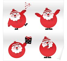 Vector illustration of cute cartoon Santa Claus set in various poses Poster
