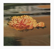 Floating Beauty - Hot Orange Chrysanthemum Blossom in Silky Fountain One Piece - Short Sleeve