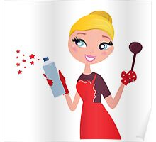 Beautiful blond Woman in red apron cleaning and cooking for Christmas Poster