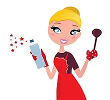 Beautiful blond Woman in red apron cleaning and cooking for Christmas Photographic Print