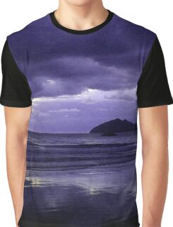 Mission Beach Sunrise in Purple Graphic T-Shirt