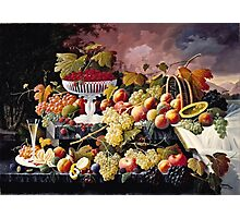 Severin Roesen - Fruit Still Life In A Landscape 1862  Photographic Print