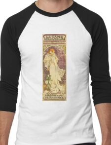 Alphonse Mucha - Lady Of The Camellias Men's Baseball ¾ T-Shirt