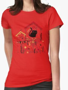 Bird and Cat Womens Fitted T-Shirt