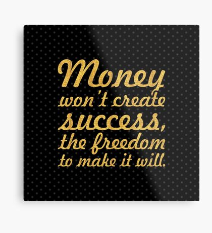 "Money won't create... ""Nelson Mandela"" Inspirational Quote (Square) Metal Print"