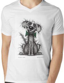Fuzzy dog Mens V-Neck T-Shirt
