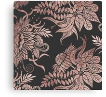 Chic Rose Gold and Black Floral Drawings Canvas Print