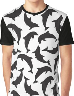 Black silhouettes of dolphins Graphic T-Shirt