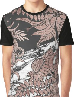 Rose Gold Flowers and Modern Black and Marble Cut Graphic T-Shirt