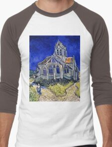 Vincent Van Gogh -  Church In Auvers Sur Oise, View From  Chevet 1890  Men's Baseball ¾ T-Shirt