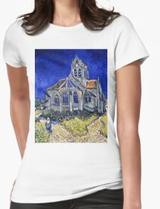 Vincent Van Gogh -  Church In Auvers Sur Oise, View From  Chevet 1890  Womens Fitted T-Shirt