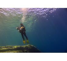 An Underwater Photographer Hovers Photographic Print