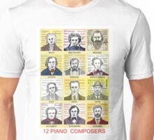 12 Piano Composer Portraits Unisex T-Shirt