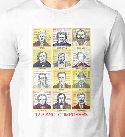 12 Piano Composer Portraits Unisex T-Shirt