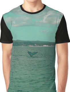 Young Humpback Waving in Turquoise Graphic T-Shirt