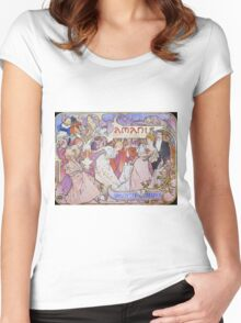 Alphonse Mucha - Amants Women's Fitted Scoop T-Shirt