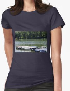 boat on river Womens Fitted T-Shirt