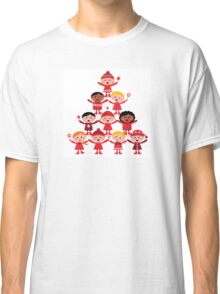 Happy multicultural kids in red winter costumes. Great design for christmas party. Classic T-Shirt