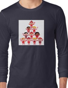 Happy multicultural kids in red winter costumes. Great design for christmas party. Long Sleeve T-Shirt