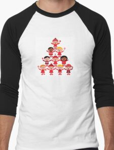 Happy multicultural kids in red winter costumes. Great design for christmas party. Men's Baseball ¾ T-Shirt