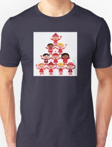 Happy multicultural kids in red winter costumes. Great design for christmas party. Unisex T-Shirt