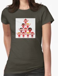 Happy multicultural kids in red winter costumes. Great design for christmas party. Womens Fitted T-Shirt