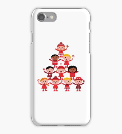 Happy multicultural kids in red winter costumes. Great design for christmas party. iPhone Case/Skin