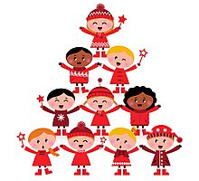 Happy multicultural kids in red winter costumes. Great design for christmas party. Photographic Print