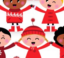 Happy multicultural kids in red winter costumes. Great design for christmas party. Sticker